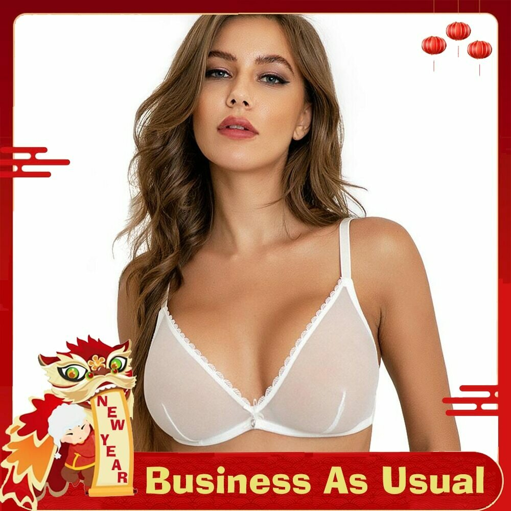 Women sexy underwear mesh See-Through lingerie Bra Black white Beige women underwear