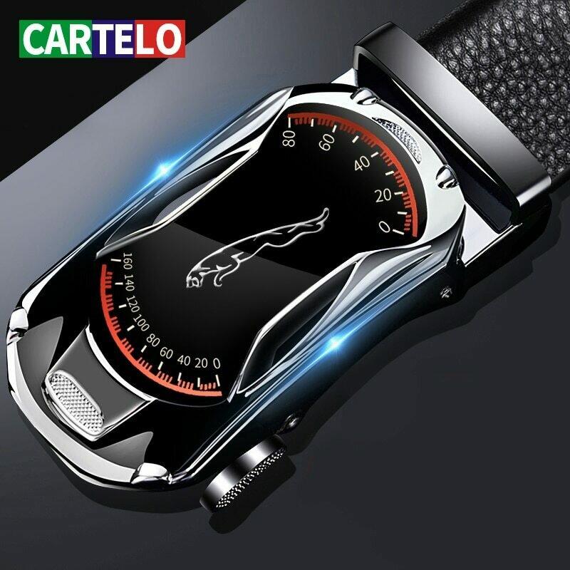 CARTELO Leather Belts for Men 3.5cm Width Sports car Brand Fashion Automatic Buckle Black Genuine Leather Belt Men's Belts Cow