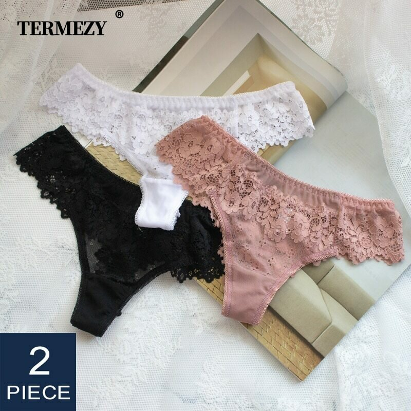 2Pcs/lot Women Sexy Lace Lingerie Temptation Low-waist Panties Embroidery Thong Transparent Hollow out Underwear Free shipping