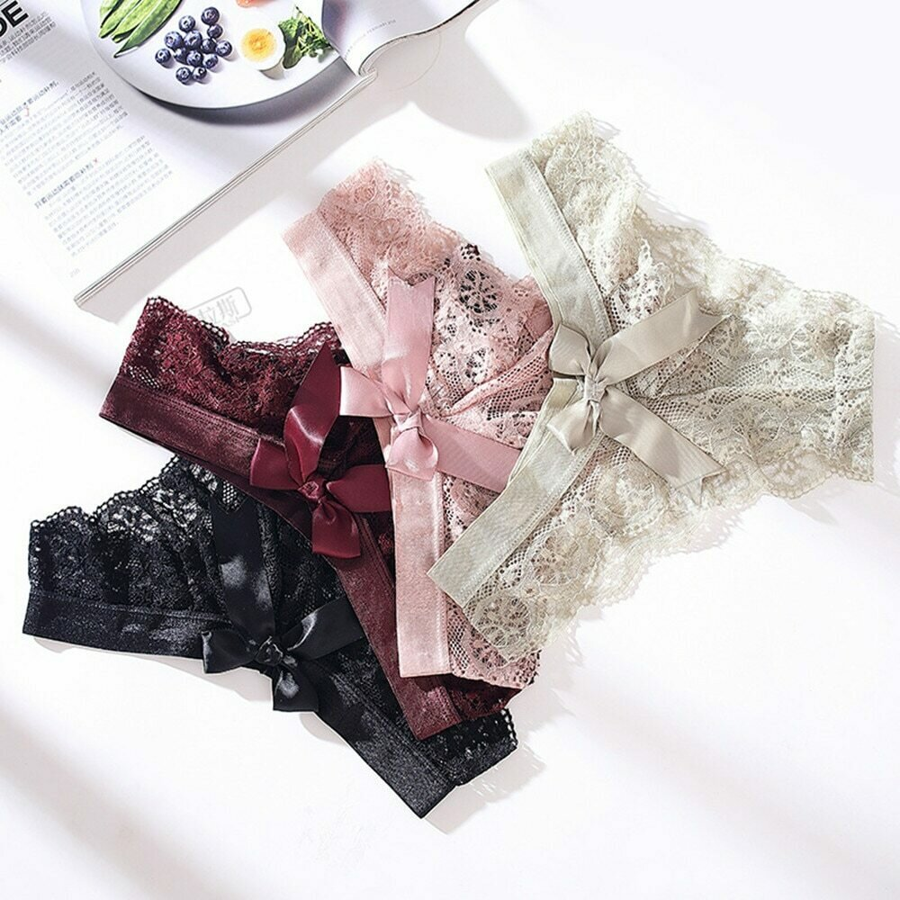 Black/White Sexy String Lace Underwear Women Back Bow Panties Women G String T-back Thong Transparent Lingerie Cute Panties