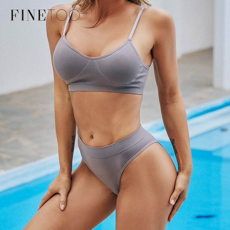FINETOO Women Seamless Tops Panties Set Soft Wireless Bra Set Comfortable Bralette Brazilian Underwear Suit Girls Fitness Tops