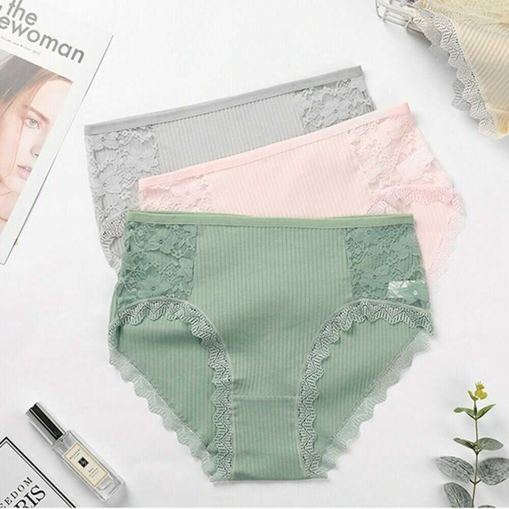 3PCS Hot Sale Cotton Panties Comfot Seamless High Waist Women's Panties Solid Lace Briefs Underwear Sexy Plus Size Underpants