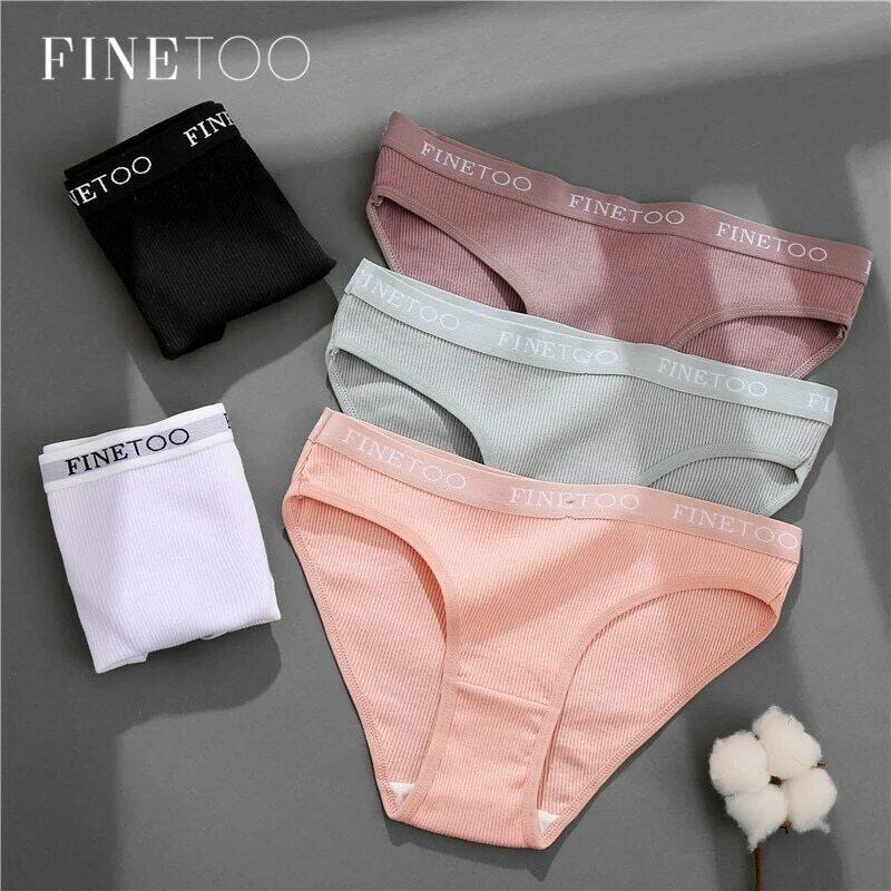 FINETOO Letter Cotton Panties Women M-2XL Lady Underpants Girls Briefs Fashion Cotton Underwear Soft Panty Female Lingerie 2020