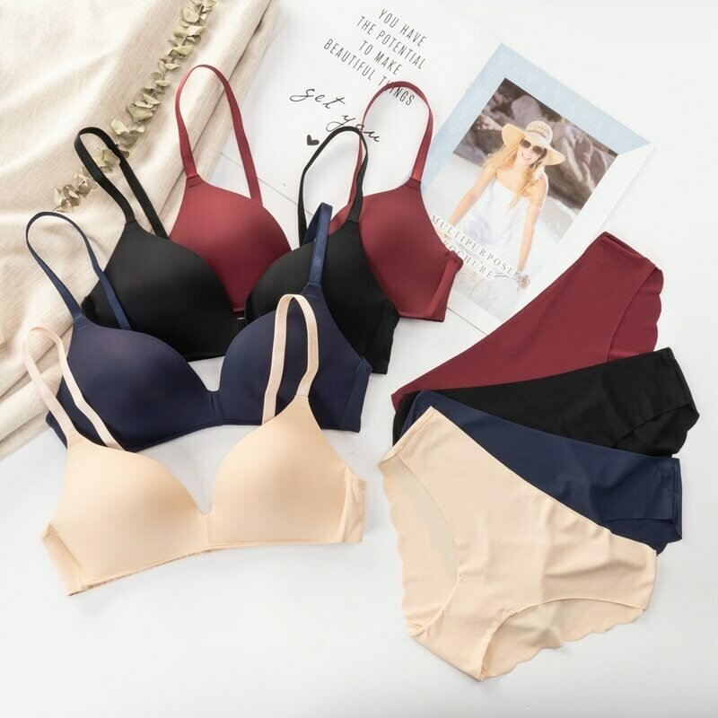 Seamless Bra Set for Women Underwear Push Up Lingerie Set Wire Free Bra and Panty Set Comfortable Intimates Female 2021