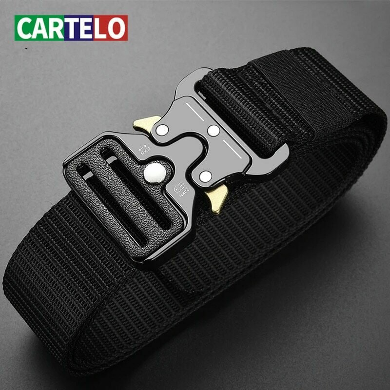 CARTELO Men's belt outdoor hunting metal tactical belt multifunctional alloy buckle high quality marine canvas unisex