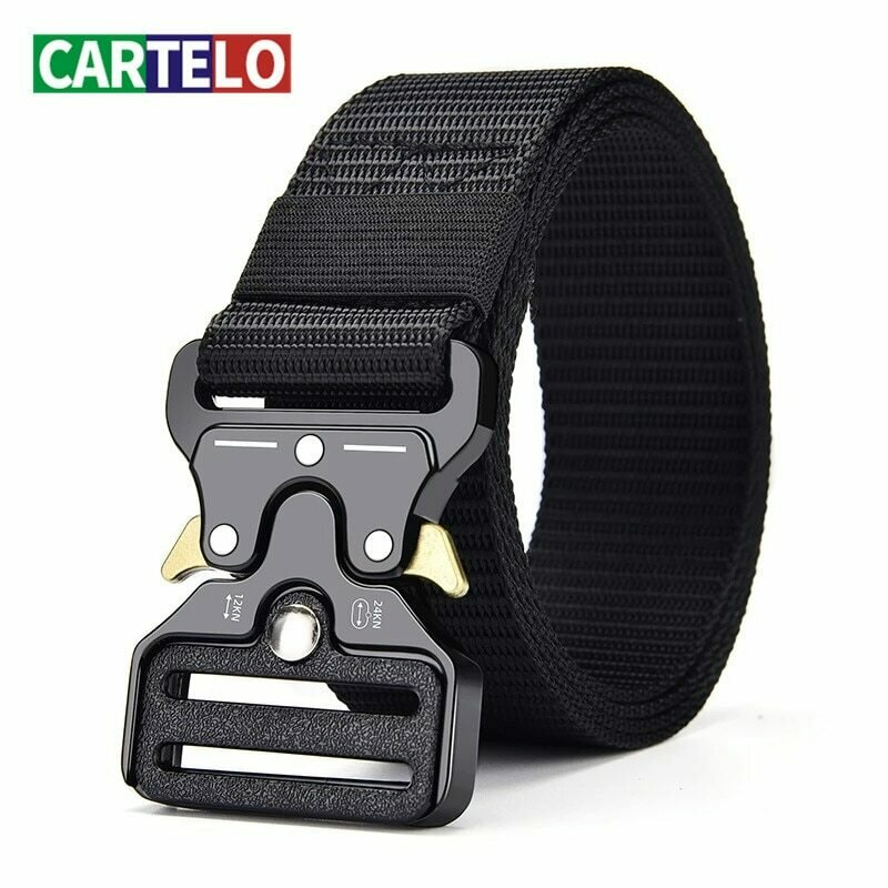CARTELO Unisex belt outdoor sports tactical belt multifunctional alloy buckle high quality canvas belt for men