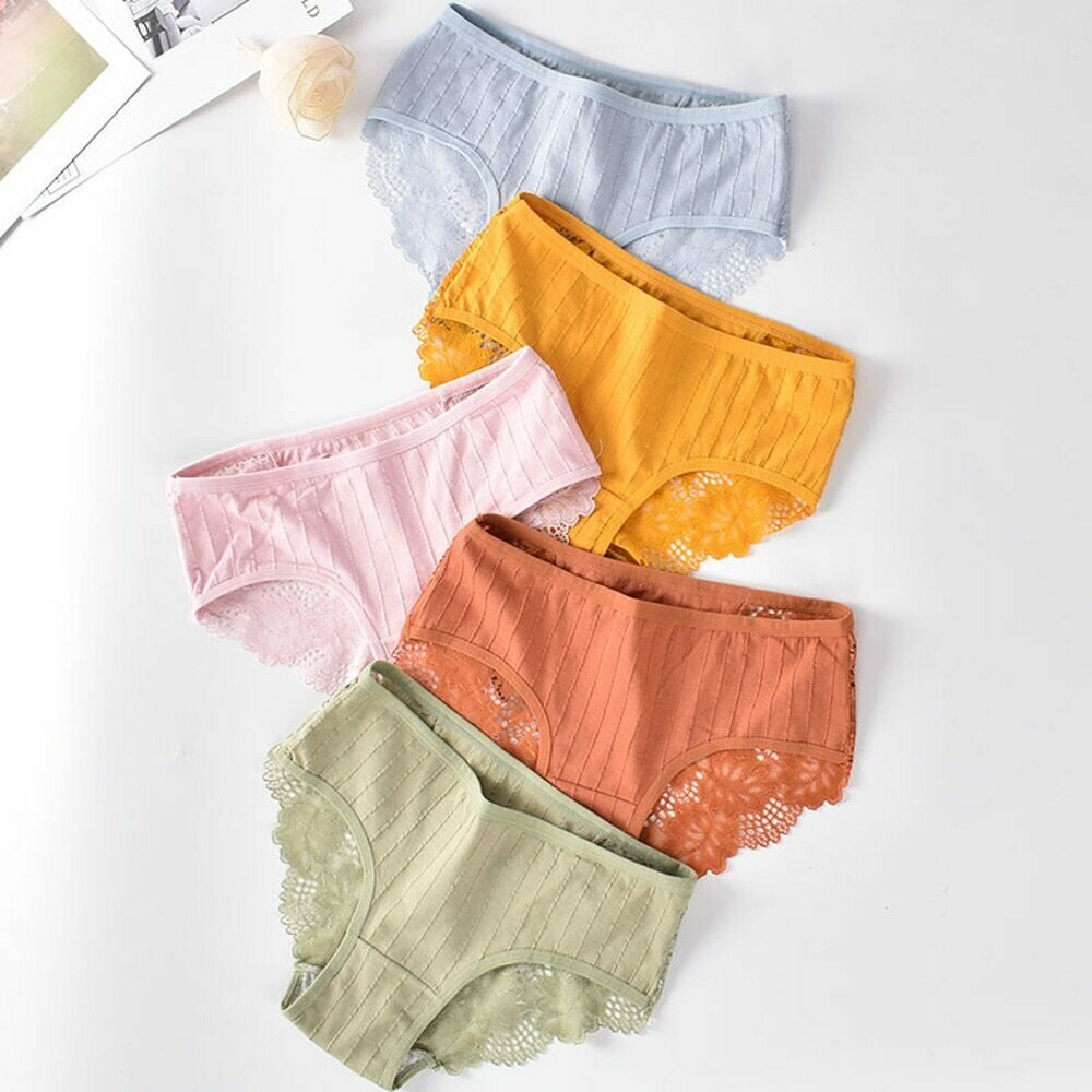 Fashion Sexy Comfortable Lace Panties Cotton Patchwork Panties Underpants Solid Shorts Sexy Underwear Cutout Underwear Ladies