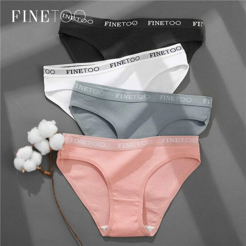 FINETOO 3PCS/Set Women's Underwear Cotton Panty Sexy Panties Female Underpants Solid Color Panty Intimates Women Lingerie M-2XL