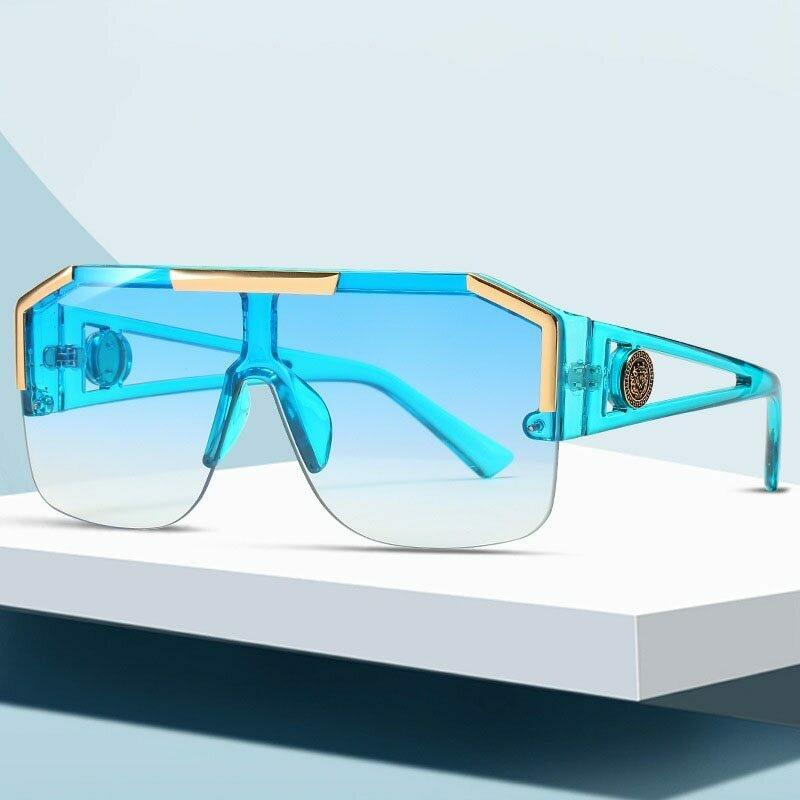 2020 Fashion Luxury Brand Oversized Square Sunglasses Men Women Vintage Metal Big Frame Semi-Rimless One Lens Sun Glasses UV400