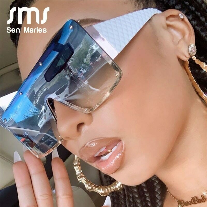2020 New Square Sunglasses Women Fashion Oversized Metal Frame Vintage Glasses Men Shades Retro Gradient Colors Oculos UV400