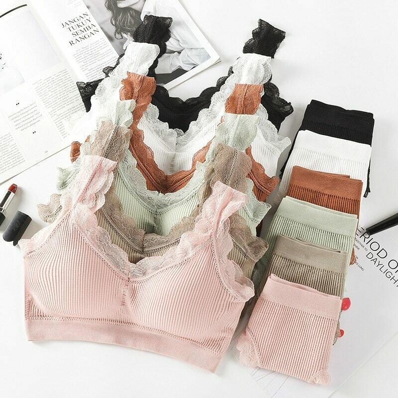CHRLEISURE Lace Sexy Bra Set Women's Lingerie Brassiere  Comfortable Without Steel Ring Fitness Underwear Bra Set