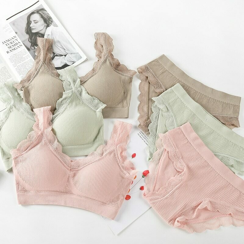 SVOKOR Sexy Lace Lingerie Set Padded Bra Set Without Steel Ring Solid Women's Underwear Brassiere Comfortable Fitness Crop Top