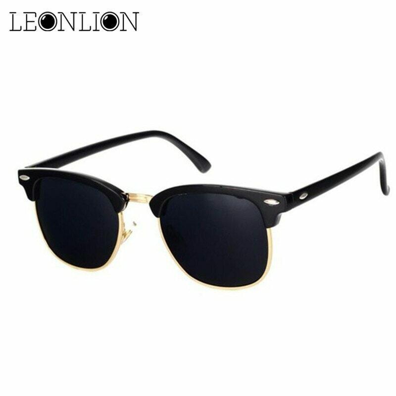 LeonLion  Polarized Semi-Rimless Sunglasses Women/Men Polarized UV400 Classic Brand Designer Retro Oculos De Sol Gafas