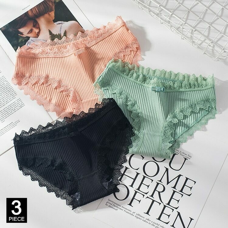 Cotton Panties Woman Sexy Lace Briefs Fashion Solid Color knickers Girls Bow Underpants Set Underwear Dropshipping 3 Pcs/lot