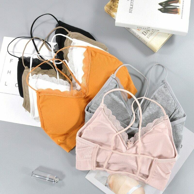 CHRLEISURE  Bralette Fitness Lace Thin Shoulder Strap Underwear Women Anti-light Shockproof Push Up Bra