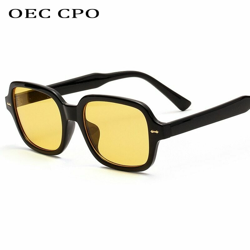 OEC CPO Fashion Unisex Square Sunglasses Men Women Fashion Small Frame Yellow Sunglasses Female Retro Rivet Glasses UV400 O403