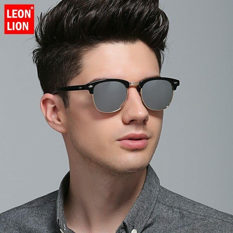 LeonLion 2021 Polarized Semi-Rimless Sunglasses Women/Men Vintage Rice Nail UV400 Classic Eyewear Brand Designer Sun Glasses