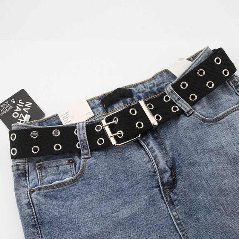 New Designer Harajuku Wide Belt Canvas Web Double Grommet Hole Buckle Belt Female Male Hot Waist Strap Belts for Women Men Jeans