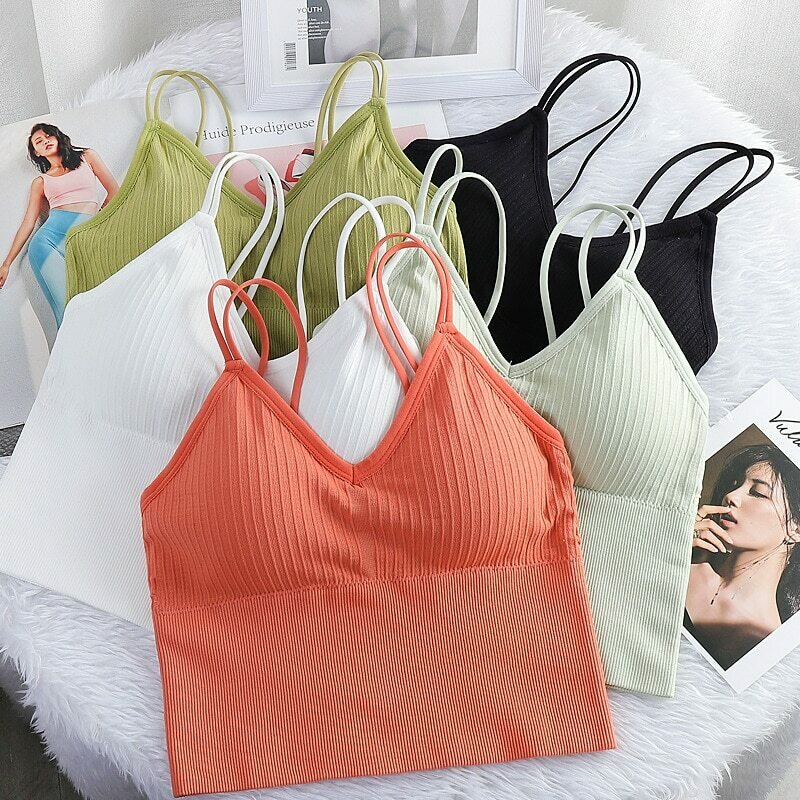 Women's Sexy Seamless Crop Tops Sports Bra Tube Top Camisole With Removable Padded Underwear Female Tank Top