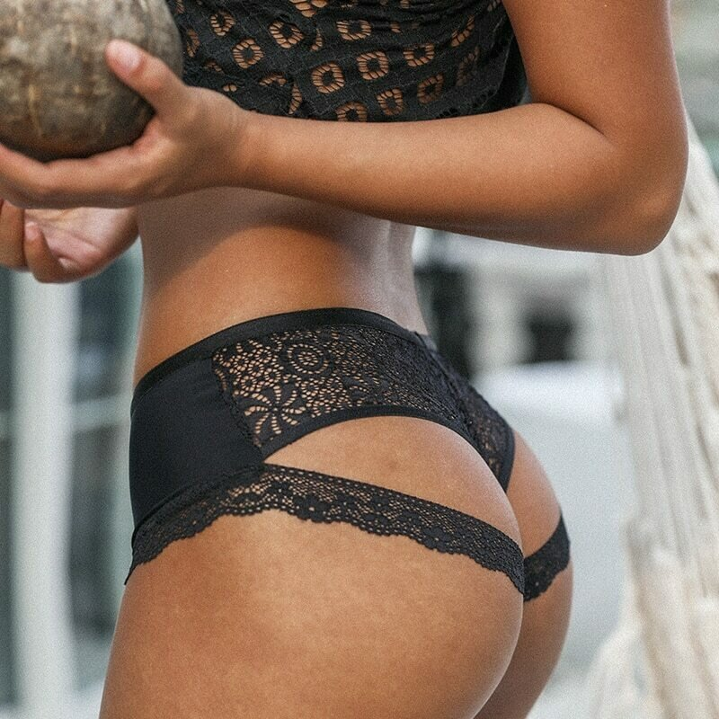 SP&CITY Temptation Lace Back Hollow Out Panties Women Thin Floral Edge Sexy Underwear Transparent Briefs Seamless Lingerie Thong