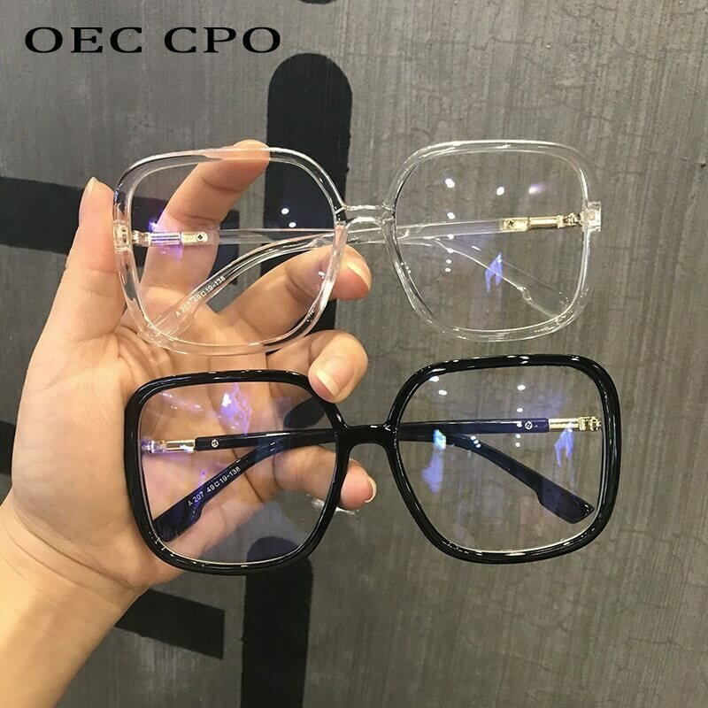 Classic Vintage Sunglasses Women Oversized Square Plastic Frame Luxury Brand Designer Clear Grey Pink Lens Shades Oculos O523