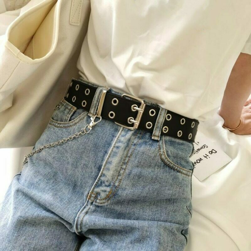 Fashion Women Punk Chain Belt Ladies Adjustable Double/Single Row Hole Eyelet Jeans Waistband with Eyelet Chain Decorative Belts