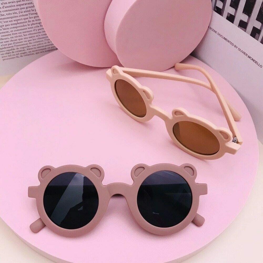New Cartoon Lovely Kids Sunglasses Bear Shape Frame Girls Children Sun Glasses Round Street Beat Baby Boy Eyeglasses Cute Shades
