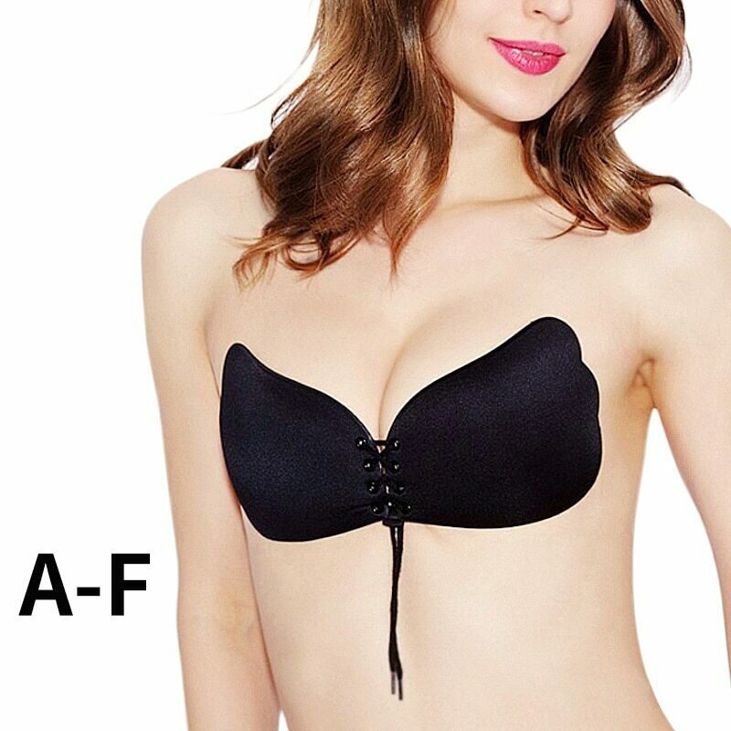 Women Invisible Bra Self Adhesive Strapless Bandage Blackless Solid Bra Stick Gel Silicone Push Up women's underwear