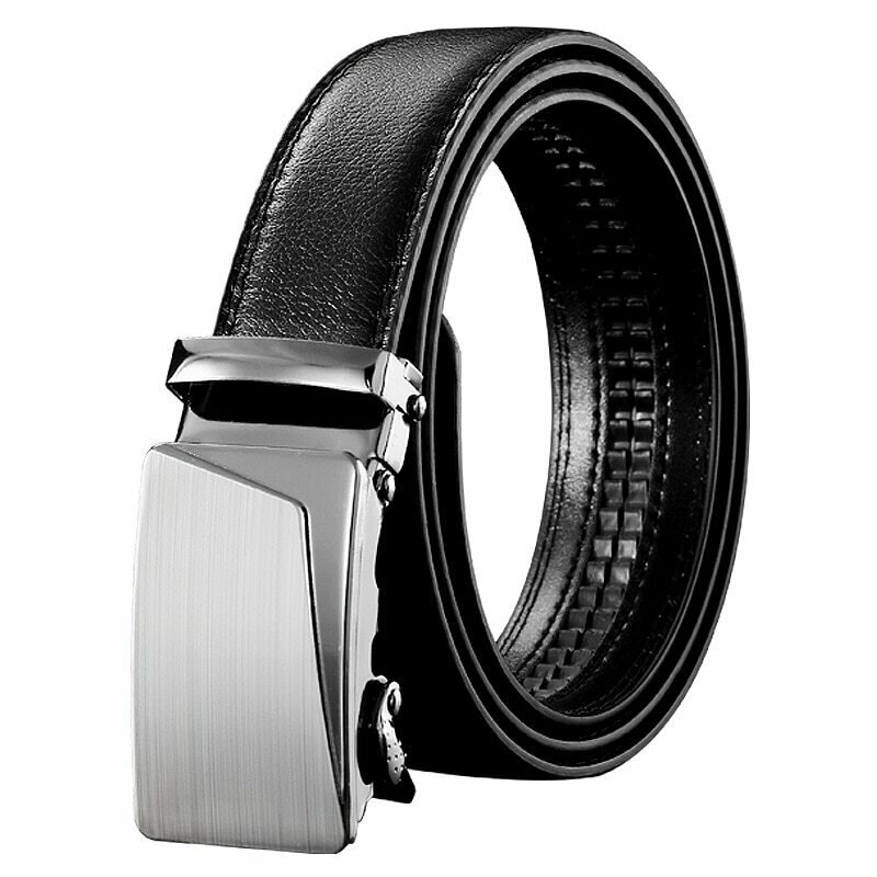 Mens Business Style Belt Black Pu Leather Strap Male Waistband Automatic Buckle Belts For Men Top Quality Girdle Belts For Jeans