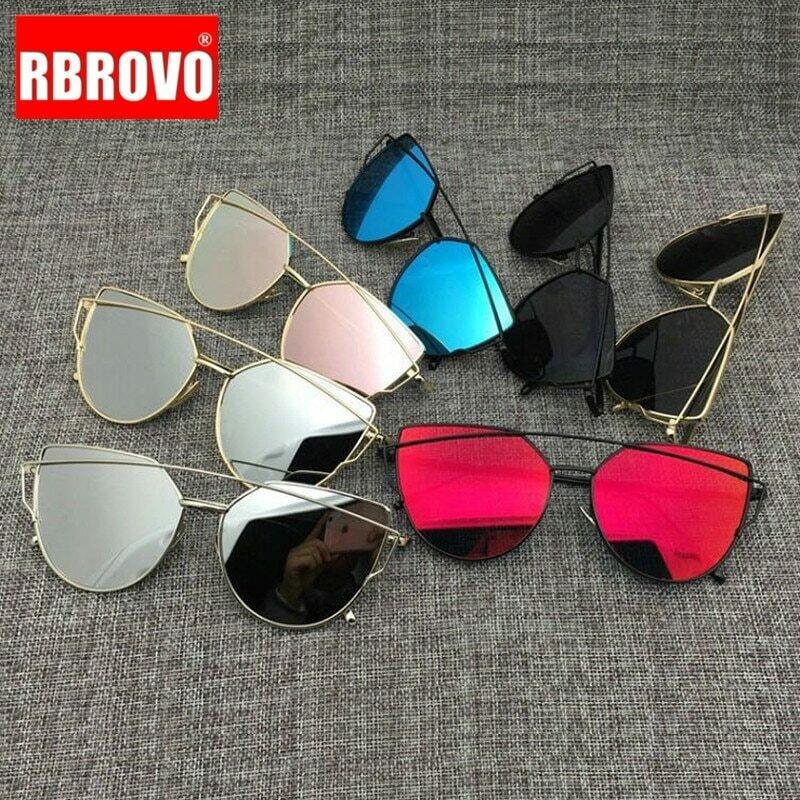 RBROVO 2021 Brand Designer Cat Eye Sunglasses Women Vintage Metal Reflective Glasses For Women Mirror Retro Oculos De Sol Gafas