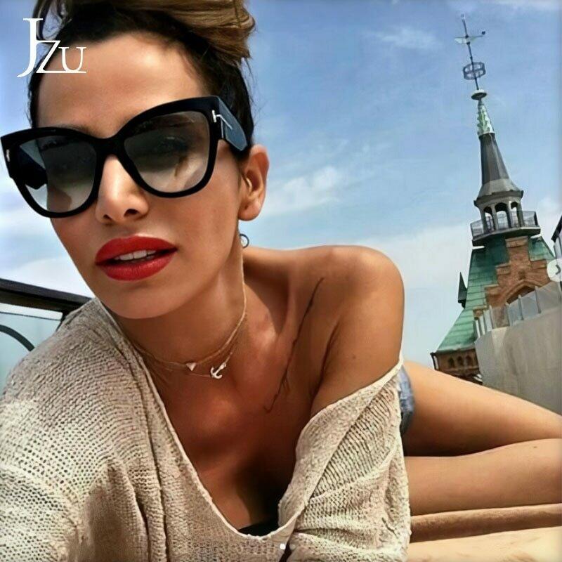 2021 New Brand Sunglasses Women Luxury Designer T Fashion Black Cat Eye oversized Sunglasses Female Gradient Sun Glasses oculos