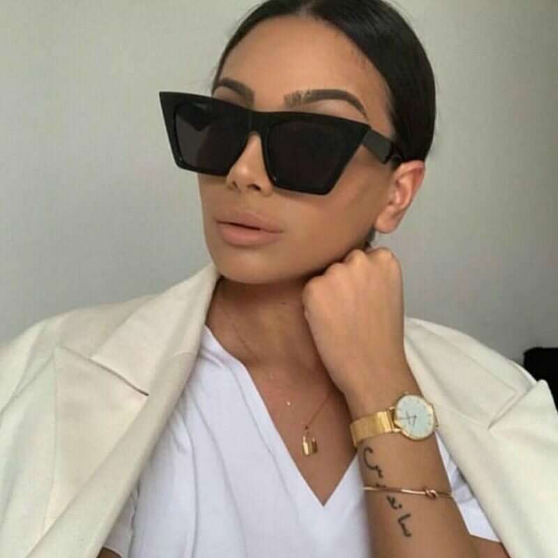 2020 new brand sunglasses Square glasses  Personalized cat eyes Colorful sunglasses trend versatile sunglasses uv400 curtain