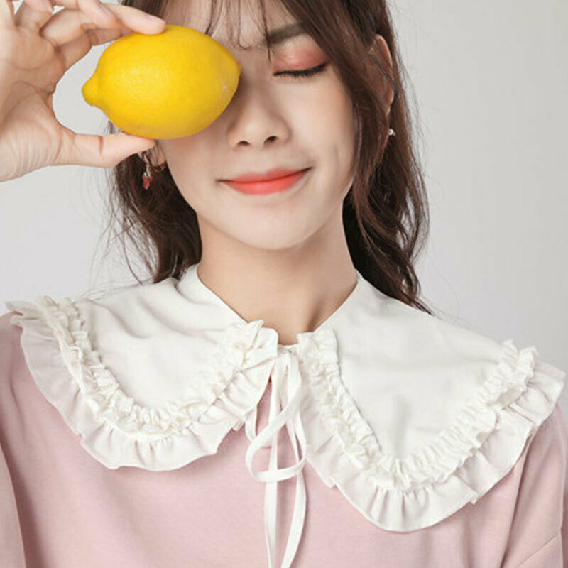 Fashion Girls Collars Fake Collar Solid White Black Neckline Neckband Lolita Doll Double Layer Ruffles Fake Collar Shoulder Wrap