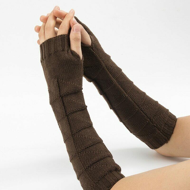 New Wool Half Finger Gloves Men Women Knitted Warm Fingerless Long Knit Mitten Solid Color Fashion Women Arm Warmers Hot Sale