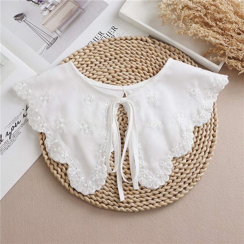 New White Shawl Doll Fake Collar Female Shirt False Collar Ladies Detachable Half Shirt Lapel Blouse Shawl Wrap Decoration