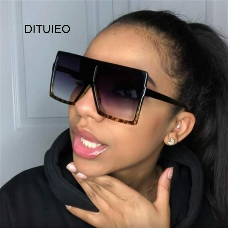 Oversized Shades Women Sunglasses Black Fashion Square Glasses Big Frame Vintage Retro Glasses Female Unisex Oculos Feminino