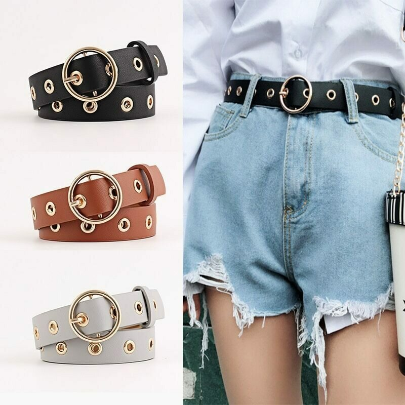 Women Leather Belt Round Metal Pin Buckle Circle Belts Hot Brand Fashion Punk O Ring for Women Belt Ladies Jeans Accessories