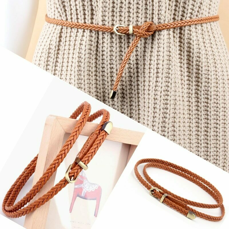 Hand-Woven Belts For Women Fashion  Belts Dress Jeans Metal Stylish Decoration Pin Buckle Belt PU Leather Solid Color Women Belt