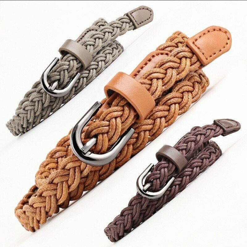Fashion Womens Vivid Braided Casual PU Leather Narrow Thin Buckle Strap Waist Belt Candy Skinny Waistband Belt For Women