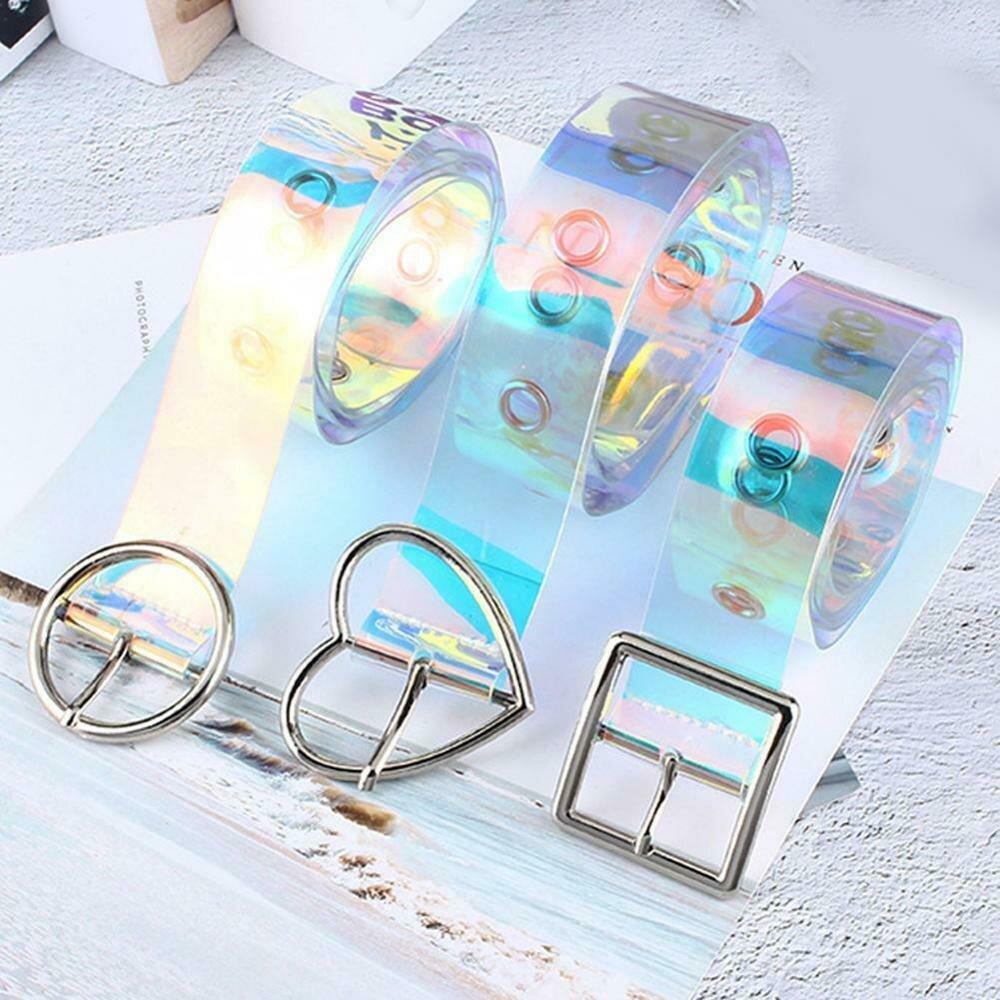 New Laser Women Belt Holographic Clear Waist Belt Metal Pin Buckle  Transparent Waist Belts for Women Belt Waistband 90cm-120cm