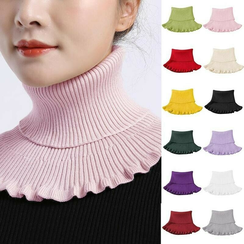 Knitted Fake Collar Scarf With Wooden Ears Women Turtleneck Knitted False Fake Collar Detachable Scarf Winter Windproof