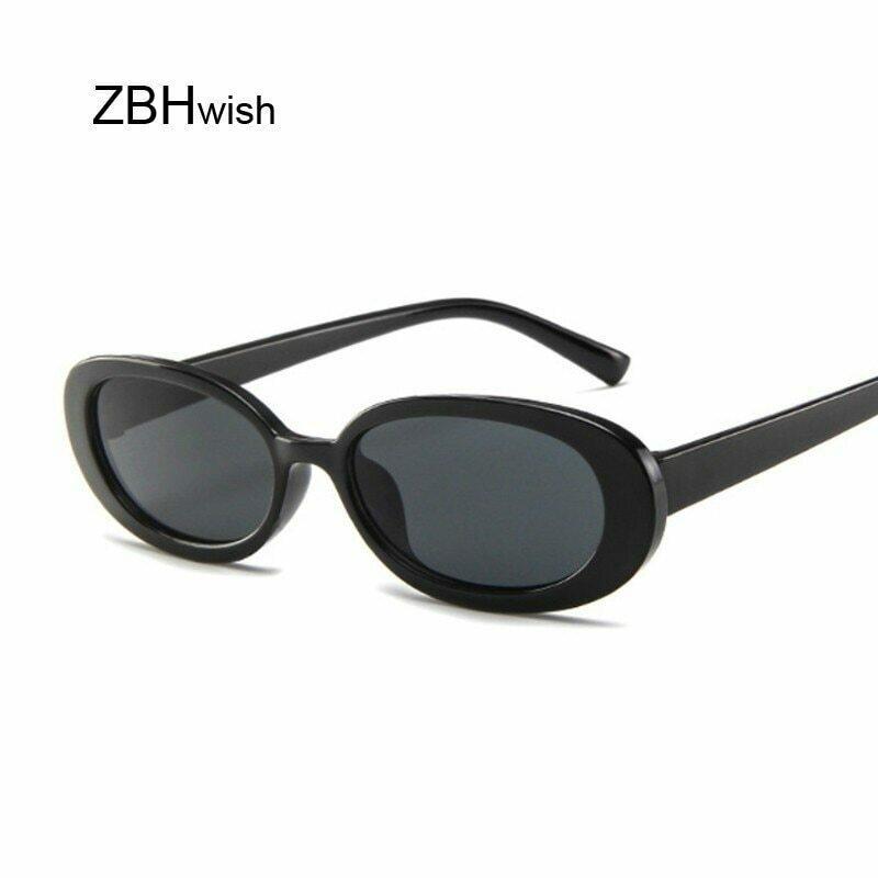 Style Oval Sunglasses Women Vintage Retro Round Frame White Mens Sun Glasses Female Black Hip Hop Clear Glasses UV400