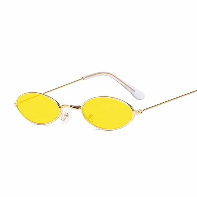 Vintage Small Oval Sunglasses Women Luxury Brand Black Gold Frame Sun Glasses Female Male Pink Yellow Shades Coulos