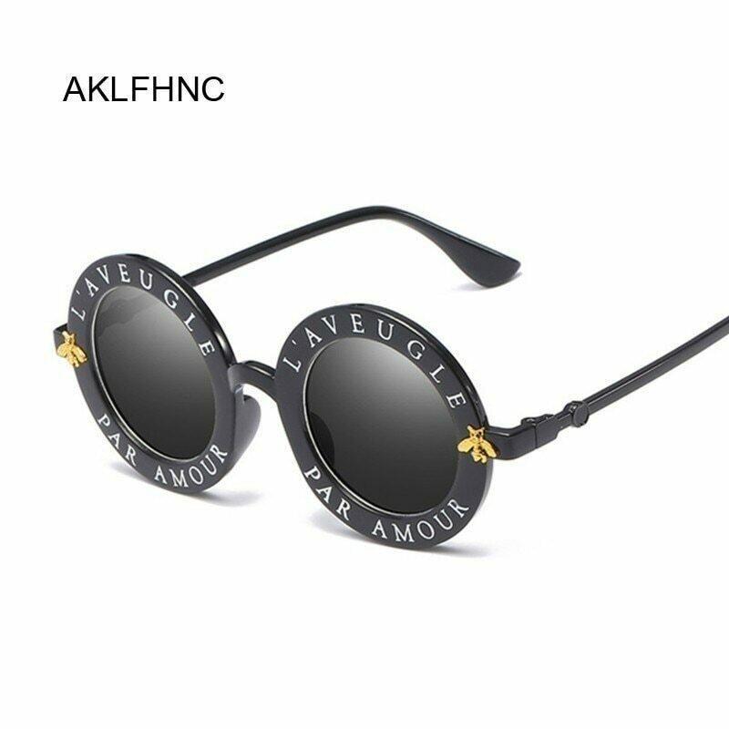 Retro Sexy Black Round Sunglasses Women Brand Designer English Letters Bee Circle Sun Glasses Fashion Female Shades Oculos
