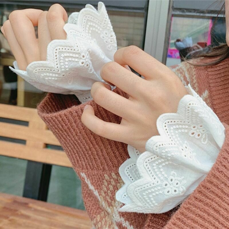Womens Pleated Ruffles Horn Cuffs Hollow Out Embroidery Floral Lace Fake Sleeves