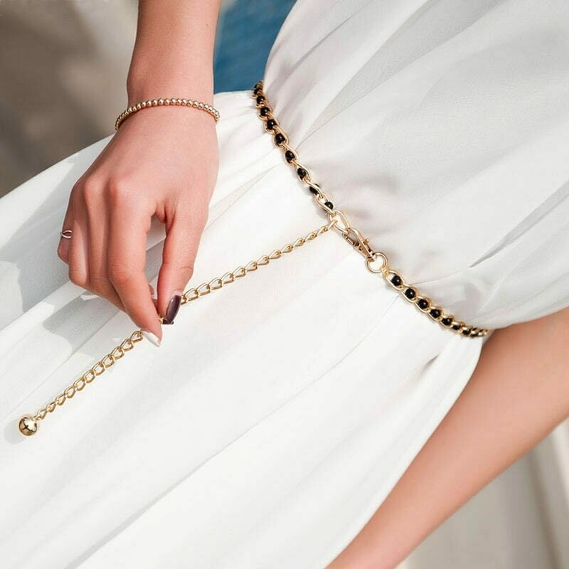 Fashion Elegant Ladies Metal Adjustable Thin Ladies Waist Chain Women Strap Dress Belt Pearl Decorative Clothess Accessories