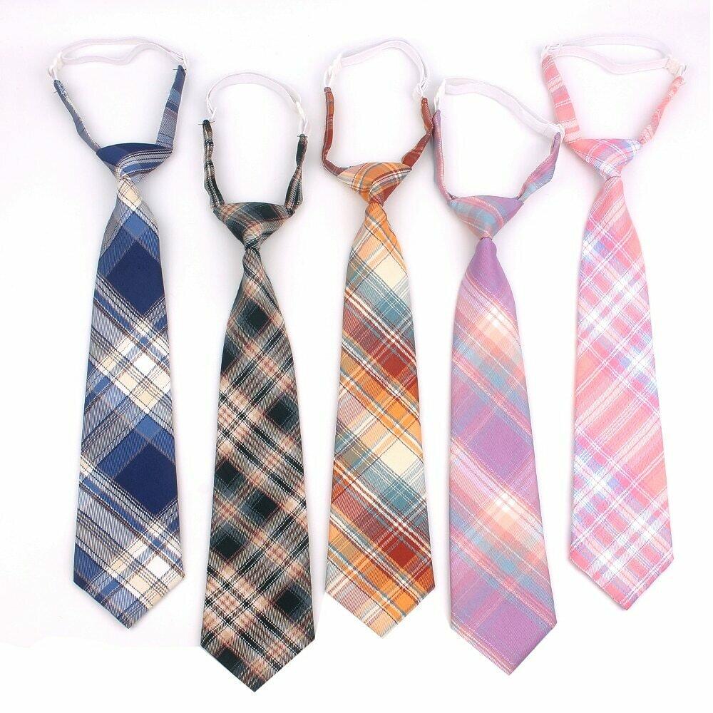 Skinny Ties For Men Women Casual Plaid Necktie Suits Boys Girls Ties Slim Men Necktie Gravatas Simple Lazy person Student Tie