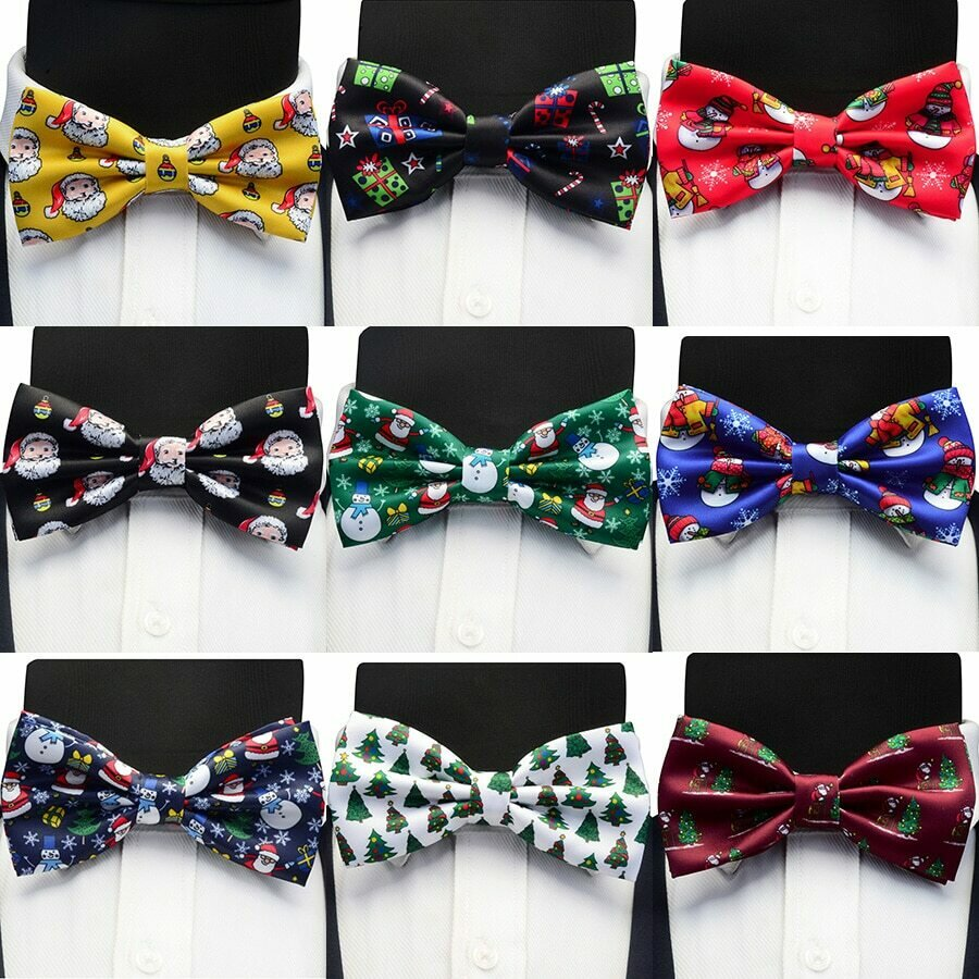 GUSLESON Christmas Bow Ties Silk Festival Theme Tie Snowflake Christmas Tree Pattern Mens Bow Tie Christmas Party Gift for Men