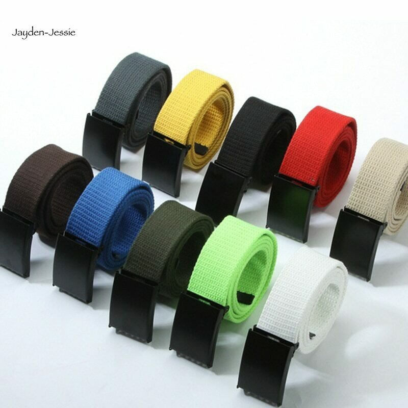 New Fashion Unisex Plain Webbing Mens Boys Waist Belt Waistband Casual Multicolor rainbow colorblock canvas belt