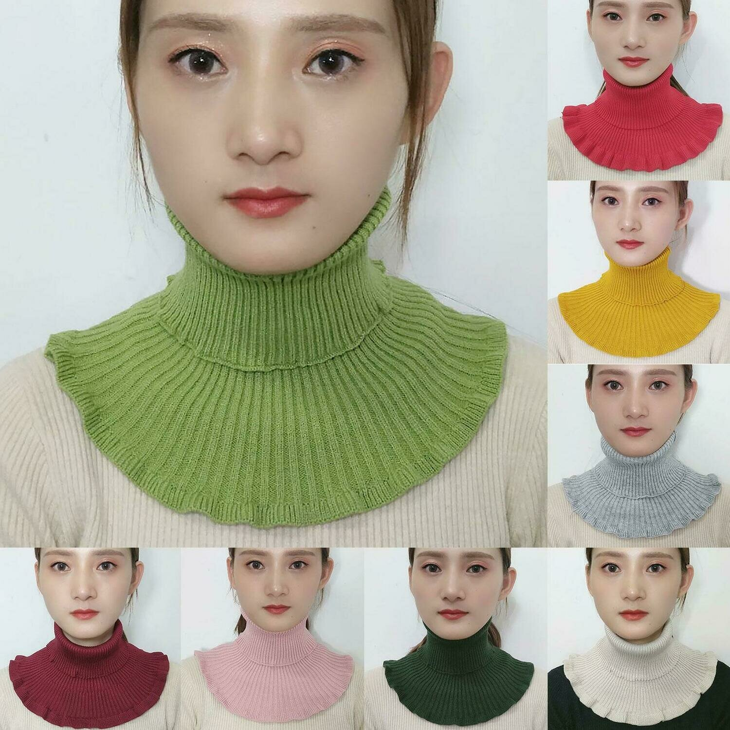 Women Winter Turtleneck Collar Solid Color Breathable Knitted Scarf Neck Gaiter